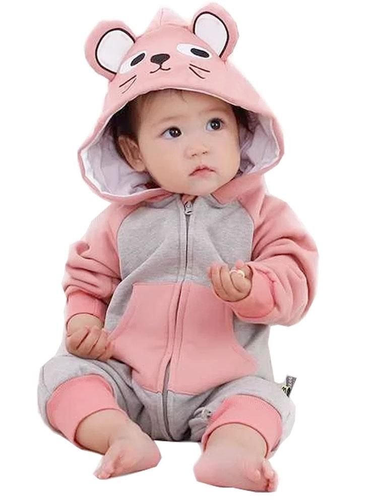 Pretty Mouse - Pink and Grey Baby Onesie with Mouse Ears - 0 to 12 months - Stylemykid.com