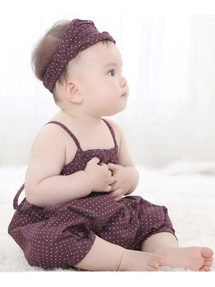 Pretty Chocolate Brown Polka Dot Romper - Stylemykid.com