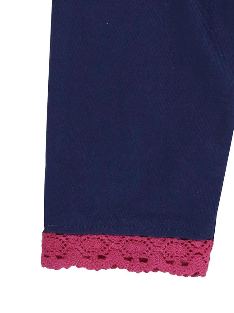 Lilly & Sid Organic Navy and Pink Trim Baby Leggings 0-3 months - Stylemykid.com