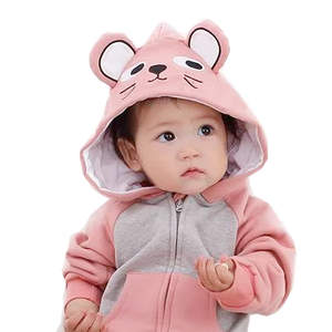 Pretty Mouse - Pink and Grey Baby Onesie with Mouse Ears - Stylemykid.com