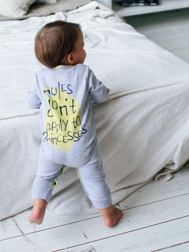 Princess Lemons Grey Baby Sleepsuit - 3 to 18 months - Stylemykid.com