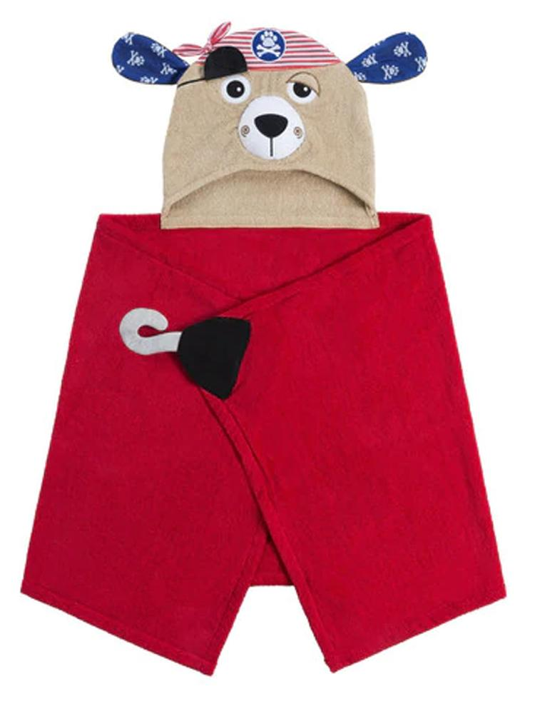 Zoocchini - Animal Cotton Kids Hooded Towel - Pedro Puppy the Pirate
