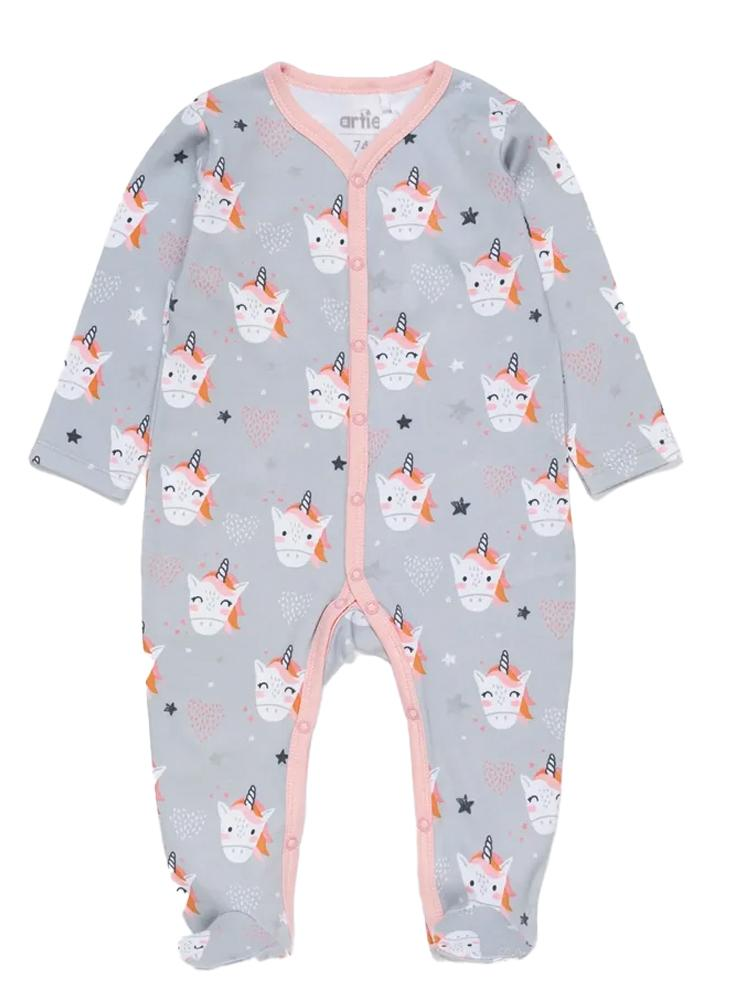 Artie - Happy Unicorn Cotton Footed Baby Sleepsuit - Stylemykid.com