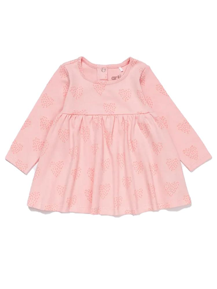 Artie - Feathered Heart Long Sleeve Pink Baby Interlock Dress - Stylemykid.com