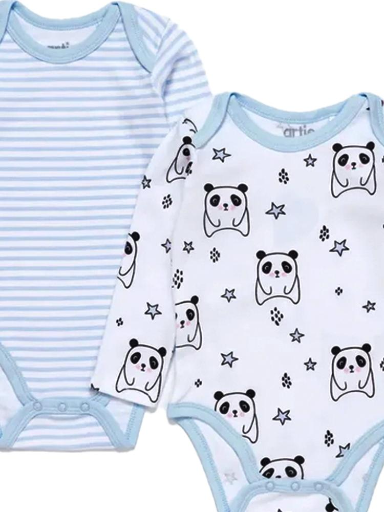 Artie - Sleepy Panda  / Sky Blue & White Striped Long Sleeve Baby Interlock Bodysuits - 2 Pack Set - Stylemykid.com