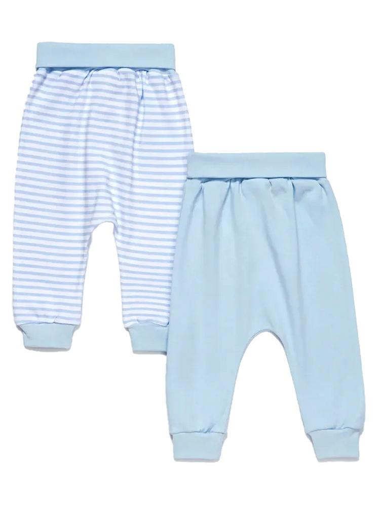 Artie - Sky Blue & White Striped Baby Interlock Bottoms - 2 Pack Set - Stylemykid.com