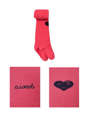 Artie - Coral Pink Sweet Heart Girls Tights - Stylemykid.com