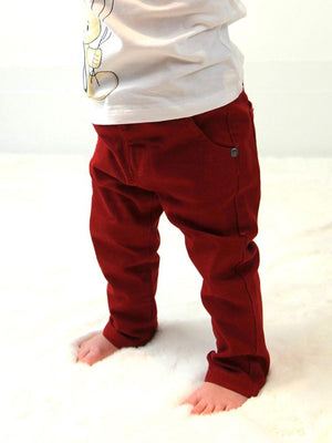 Red Slim Elasticated Childrens Unisex Jeans - Stylemykid.com