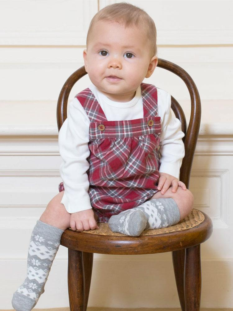 Red and Cream Organic Check Bubble Style Romper Set - Stylemykid.com