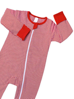 Red Monochrome Stripes Baby Zip Sleepsuit with Hand & Feet Cuffs - NEW DESIGN - Stylemykid.com