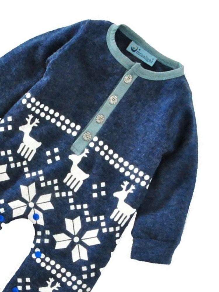 Reindeer Fair Isle - Cotton Knit Blue and White Reindeer Print Onesie - Stylemykid.com