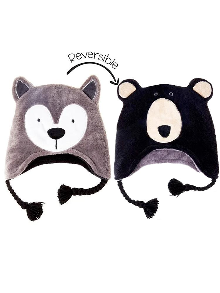 Flapjack Kids - Reversible Winter Hat - Wolf & Black Bear - Stylemykid.com