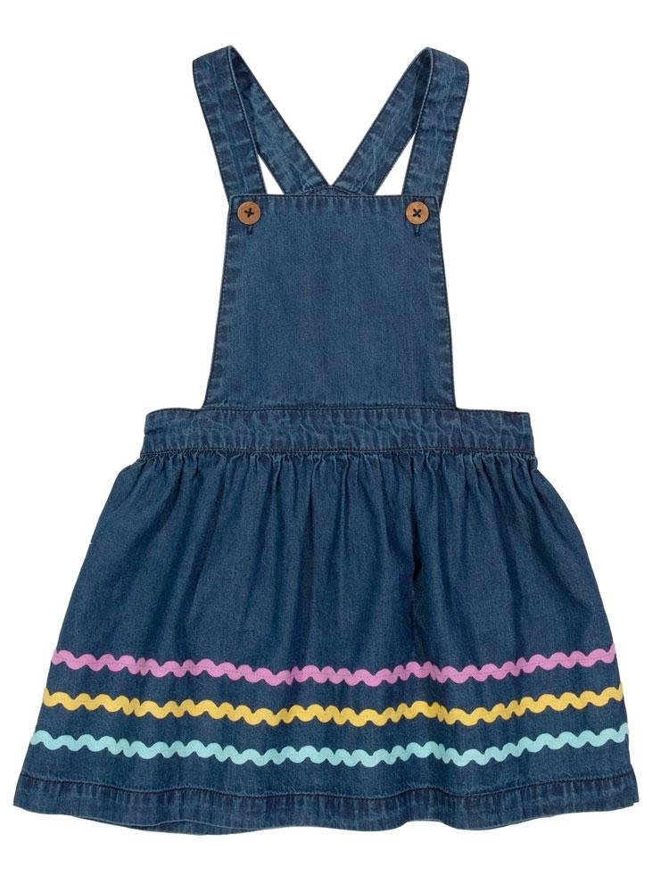 KITE Organic - Ric Rac Denim Blue Girls Pinafore Dress from 0-3 months - Stylemykid.com