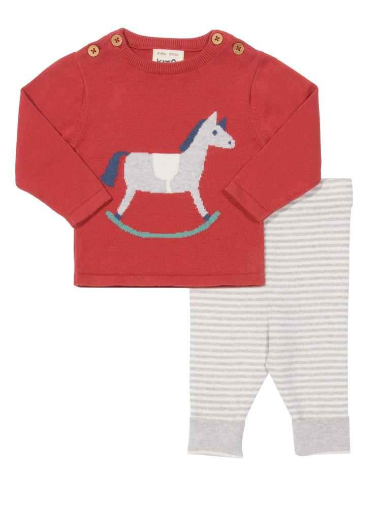 KITE Rocking Horse - Organic Two Piece Red and Grey Marl Top and Leggings Set - Stylemykid.com