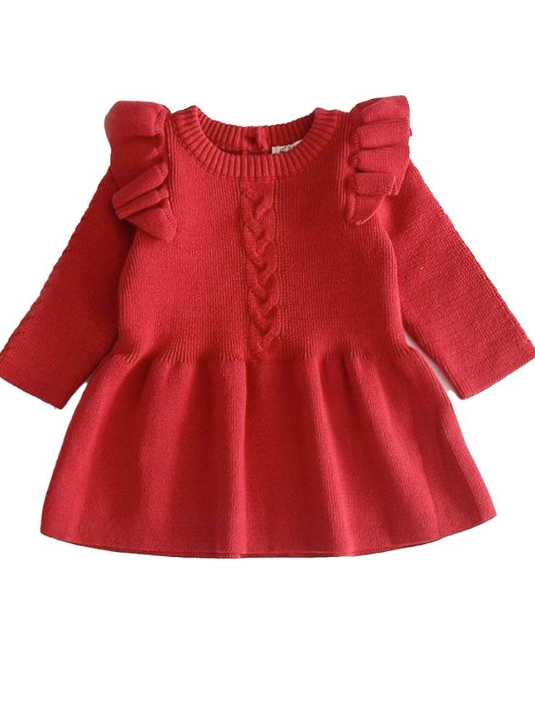 Little Girls Ruby Red Jumper Dress with Frill Design - Stylemykid.com