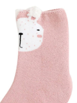 Kids Animal Ankle Socks 3 Pack - Bunny Fawn Cat - Pink Grey Tan - Stylemykid.com