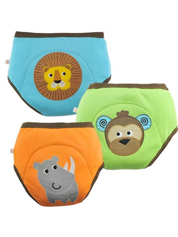 Zoocchini - 100% Organic Cotton Boys Potty Training Pants (3 pack) - Safari Friends - Lion/Monkey/Rhino - Stylemykid.com