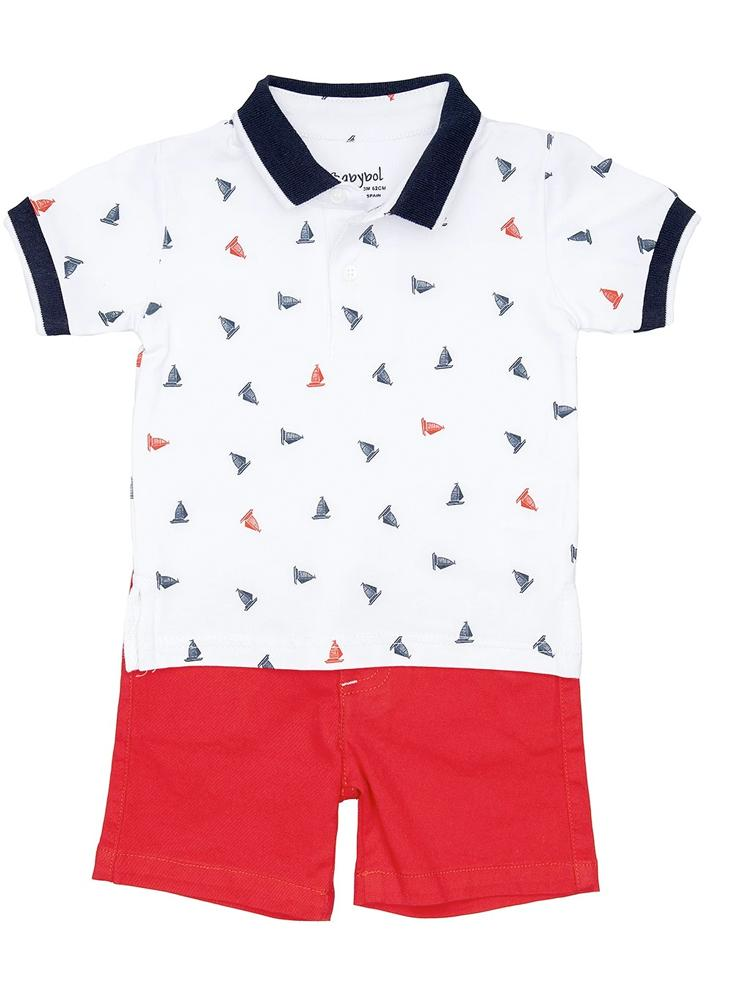 Babybol - Boys Red, White & Blue Sailing Boat Polo Shirt and Shorts Outfit - Stylemykid.com