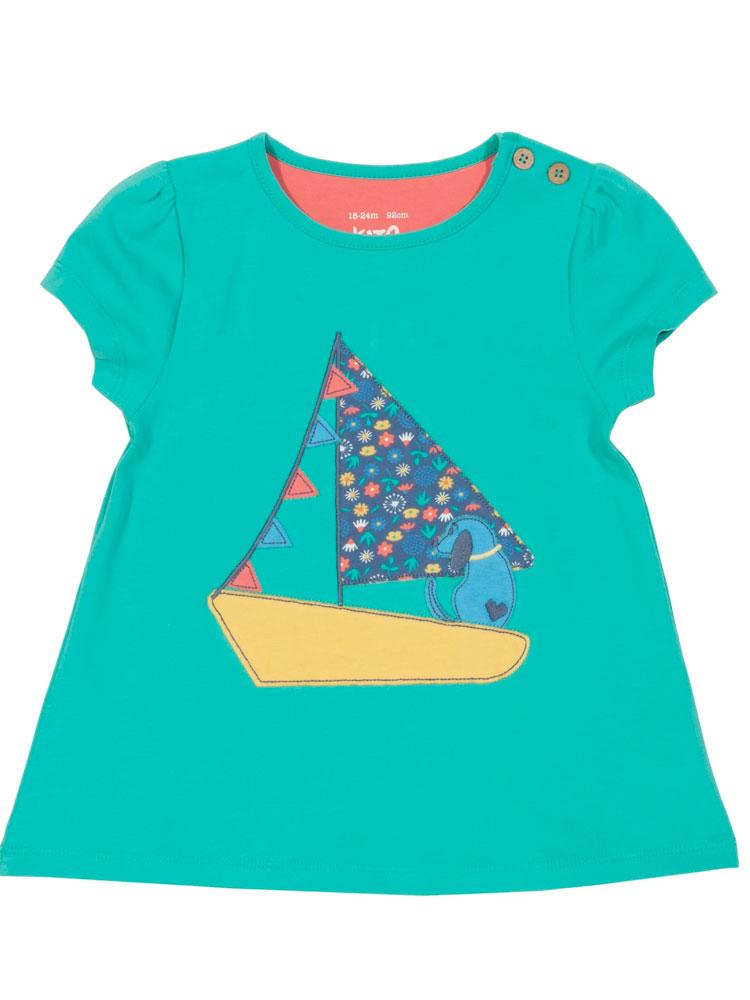 KITE Organic - Sailing Pup Aqua Green Top from 3 months - Stylemykid.com