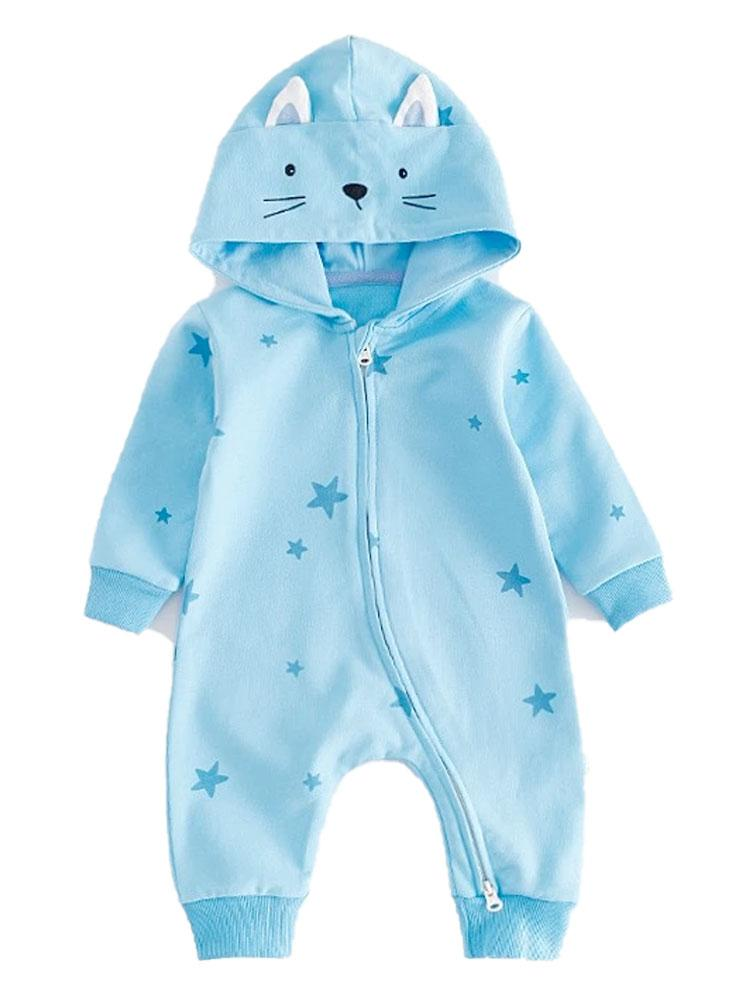Seeing Stars - Beautiful Blue Hooded Onesie with Star Print and Cat Ears - Stylemykid.com