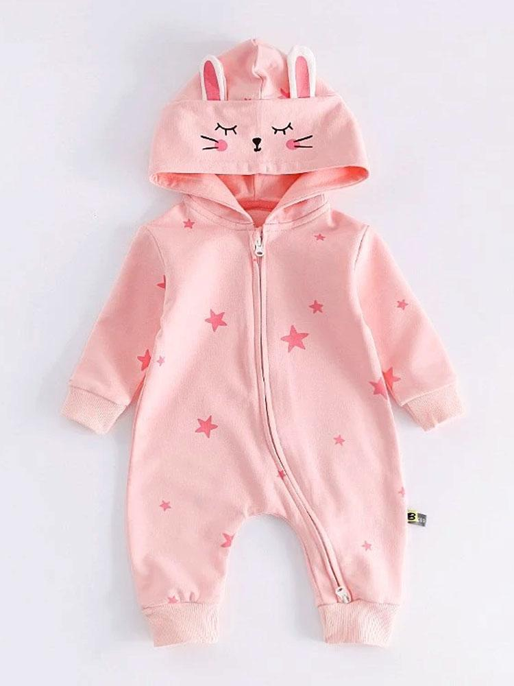Seeing Stars -  Beautiful Pink Hooded Onesie with Star Print - Stylemykid.com
