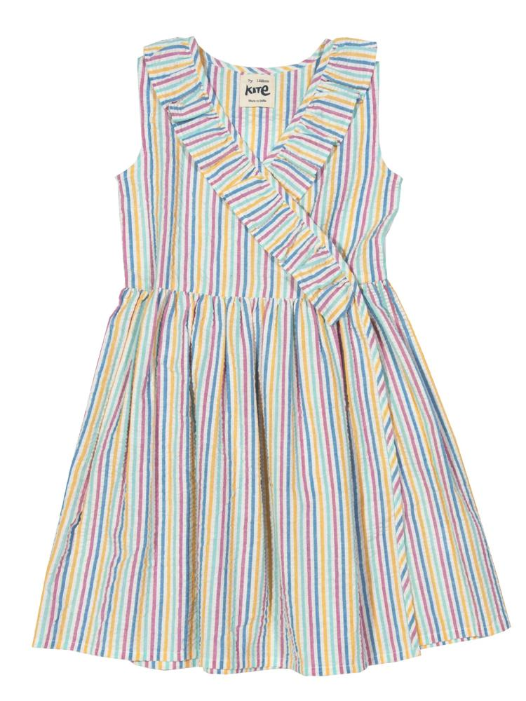 KITE Organic - Girls Seersucker Striped Wrap Dress - Stylemykid.com