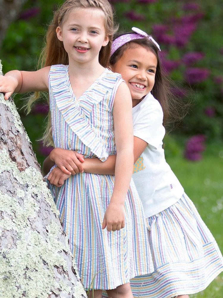 KITE Girls Seersucker Striped wrap dress - Stylemykid.com