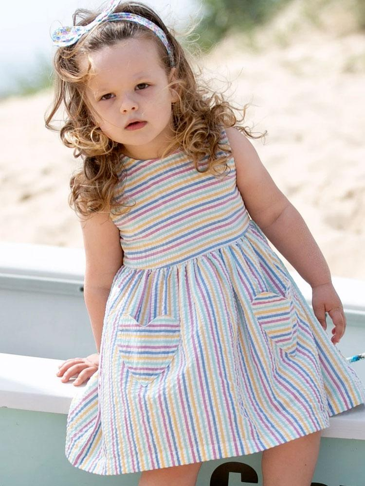KITE Organic - Girls Seersucker Striped Heart Dress from 0-3 months - Stylemykid.com