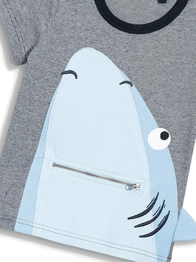 Shark Fin Appliqu - Grey Boys T-Shirt with Cool Blue Shark 3D Design - Stylemykid.com