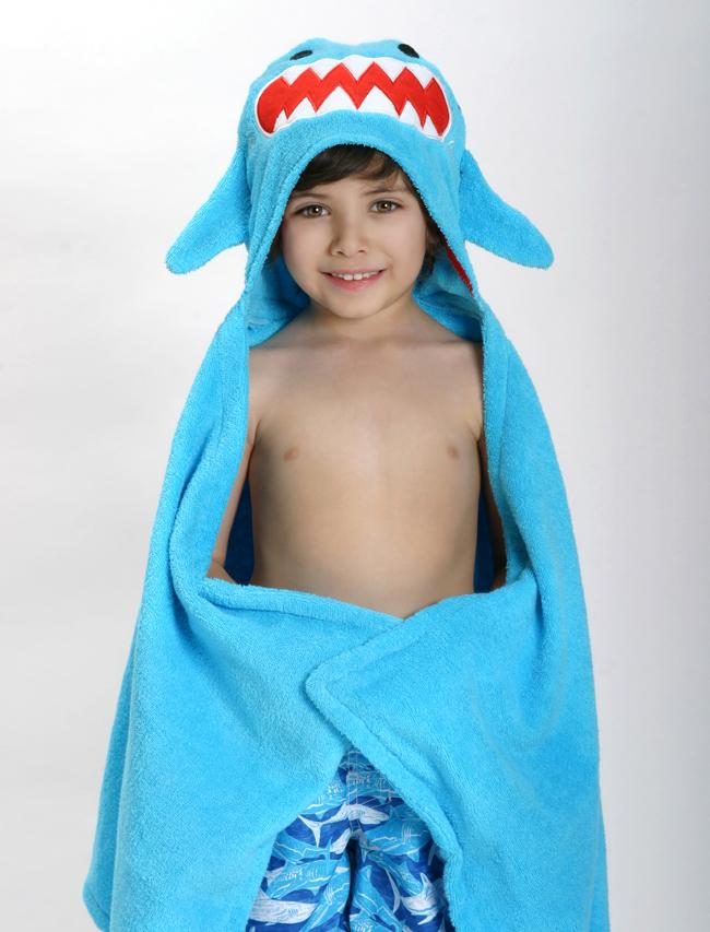 Zoocchini - Animal Cotton Kids Hooded Towel - Sherman the Shark - 2 Years + - Stylemykid.com