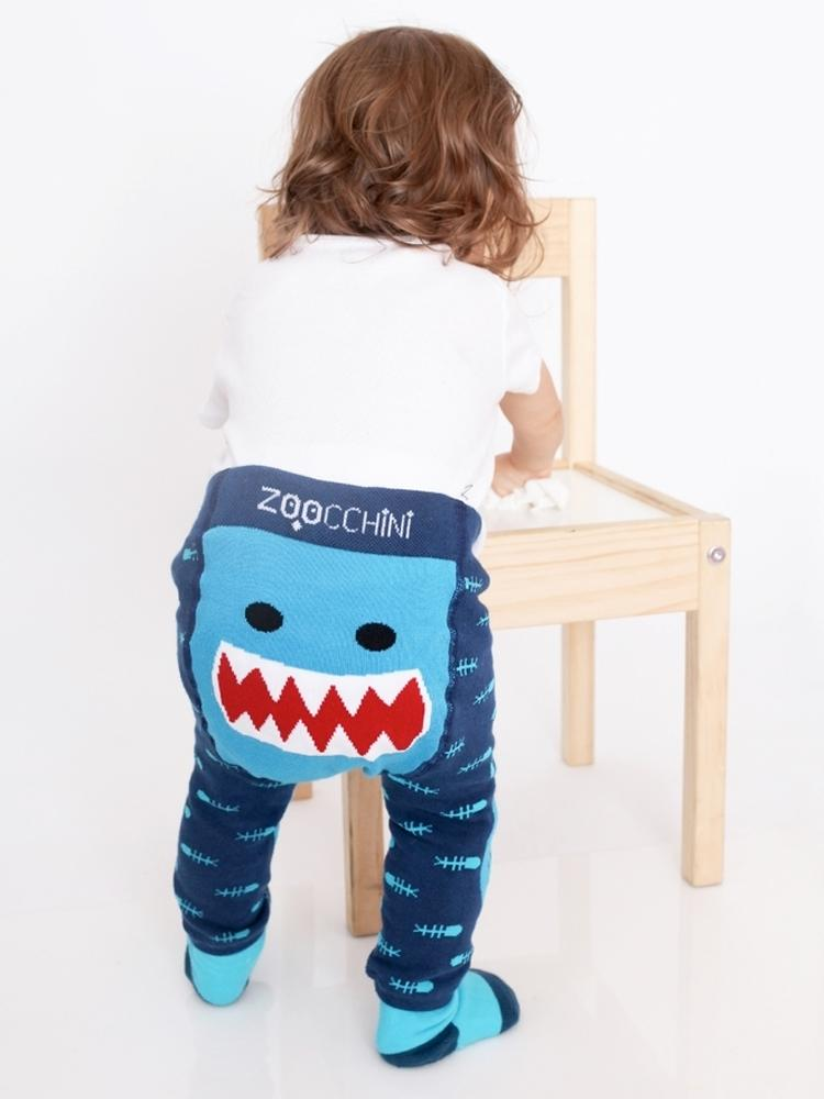 Zoocchini - Baby Leggings & Socks Set - Grip+Easy™ Comfort Crawlers - Sherman the Shark - Stylemykid.com