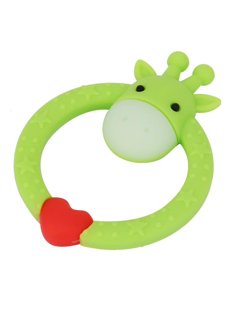 GREEN GIRAFFE TEETHER - Silicone Giraffe Ring Baby Teether Toy -  0 to 24 Months - Stylemykid.com