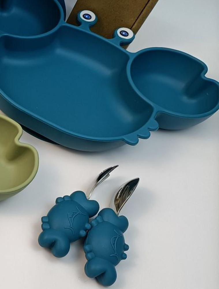 BLUE CRAB SET - 3 Piece Set - Silicone Baby Baby Feeding Bowl With Spoon and Fork - Stylemykid.com