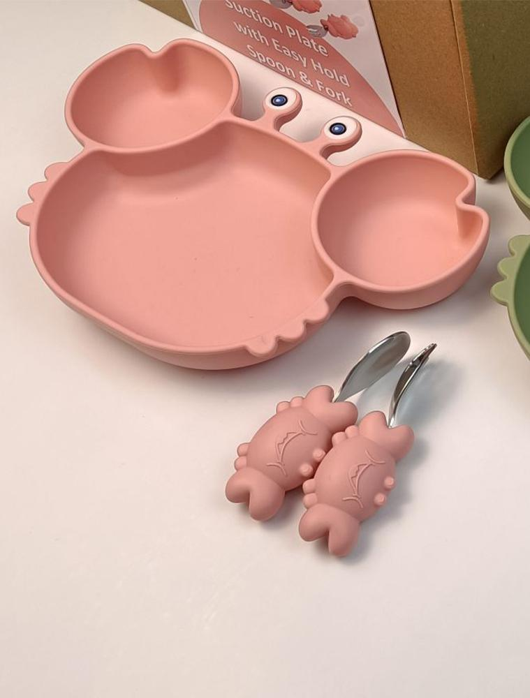 PINK CRAB SET - 3 Piece Set Silicone Baby Baby Feeding Bowl With Spoon and Fork - Stylemykid.com
