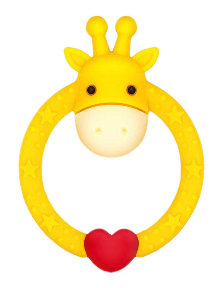 YELLOW GIRAFFE TEETHER - Silicone Giraffe Ring Baby Teether Toy -  0 to 24 Months - Stylemykid.com