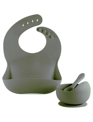 SAGE GREEN BIB BOWL AND SPOON- Silicon Baby Bib, Food Bowl and Spoon - Stylemykid.com