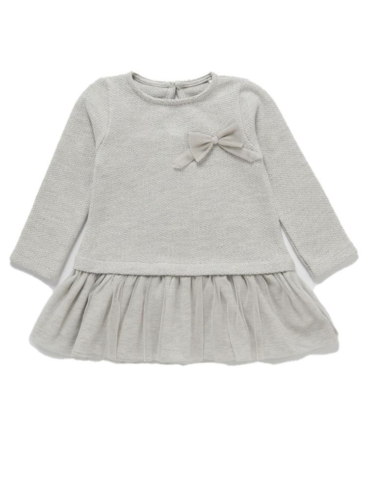 Silver Grey Tulle Frill Jumper Party Dress with Bow - 3 months to 4 years - Stylemykid.com