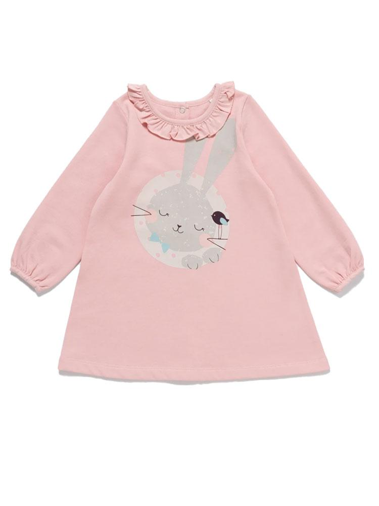 Artie - Sleeping Bunny Dress - Girls Pink Dress with Cute Sleeping Rabbit Design - Stylemykid.com