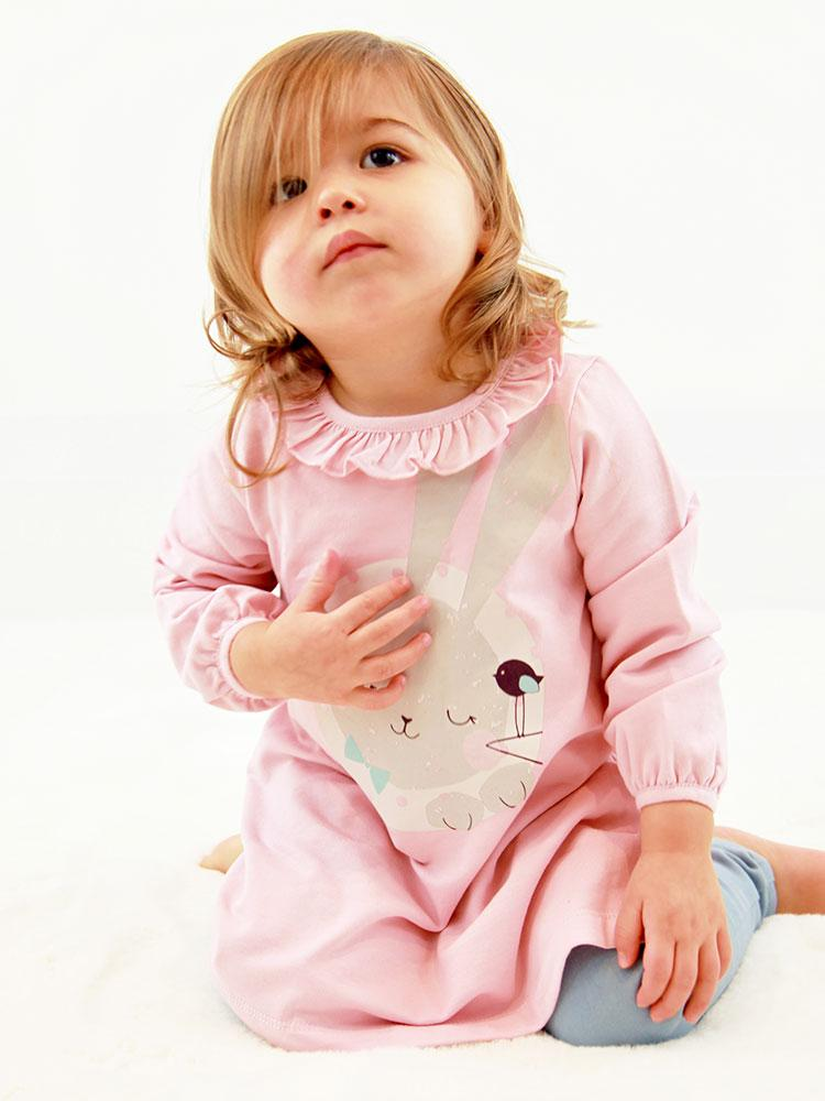 Sleeping Bunny Dress - Girls Pink Dress with Cute Sleeping Rabbit Design - Stylemykid.com