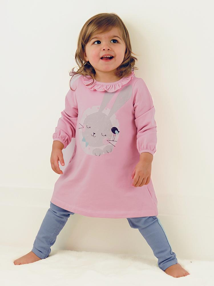Artie - Sleeping Bunny Dress - Girls Pink Dress with Cute Sleeping Rabbit Design