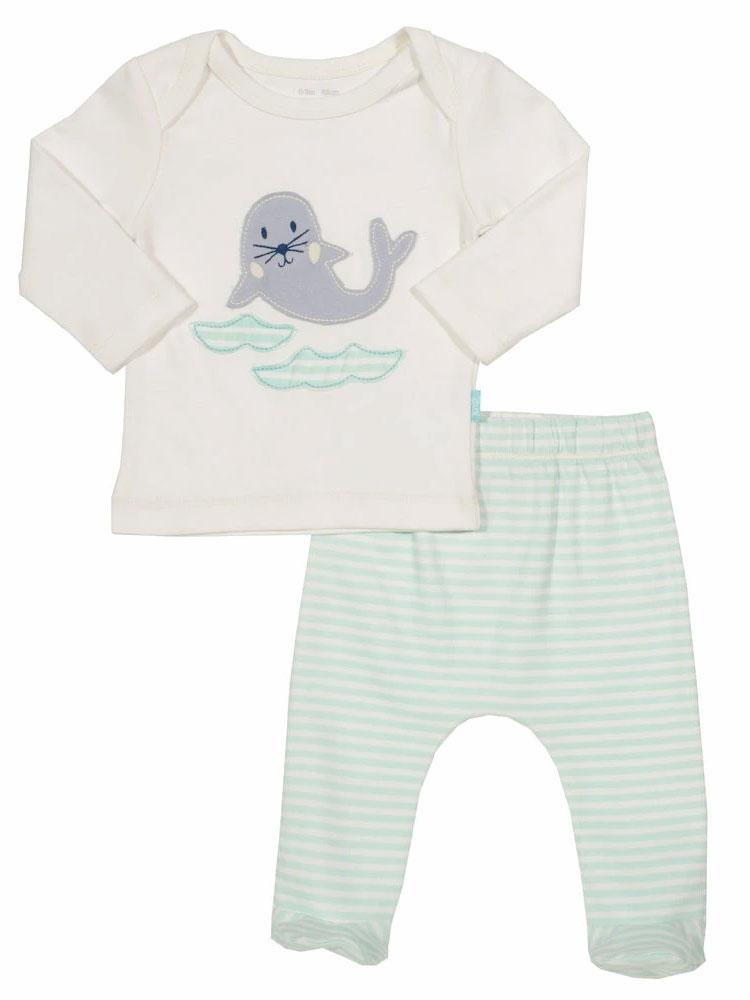 Snuggly Seal Baby Outfit - Organic Seal Top and Pale Blue Leggings - Stylemykid.com