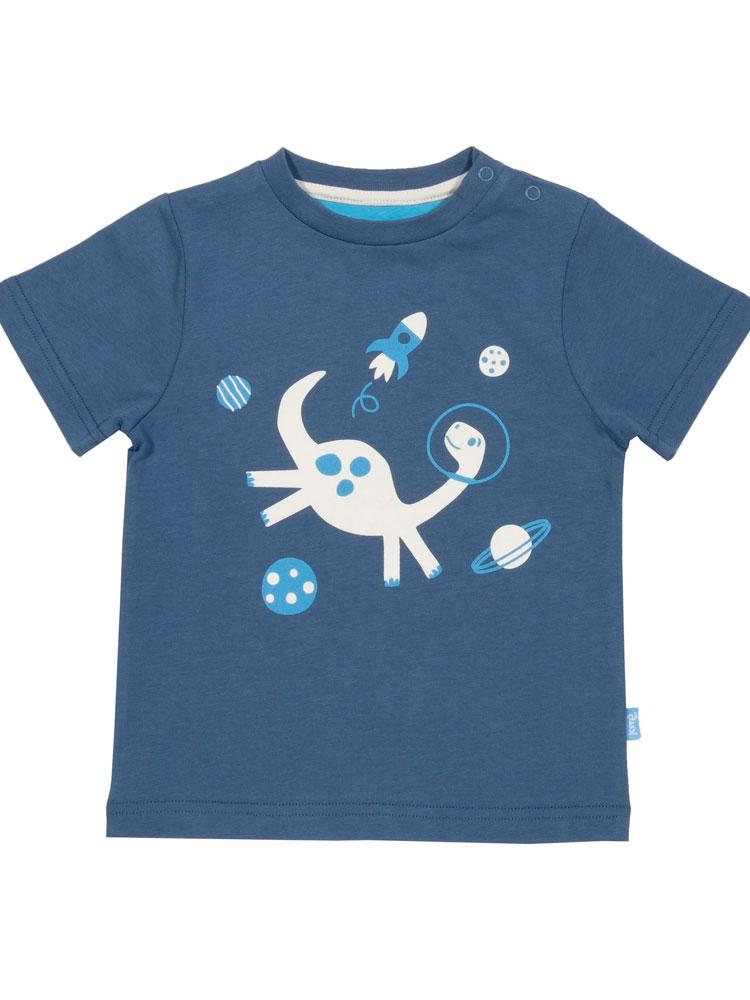 KITE Organic - Space Dino Navy Baby T-shirt from 0-3 months - Stylemykid.com