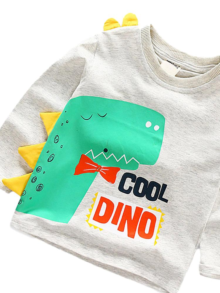 Spikes Out - Cool Dino Boys/ Girls Grey & Yellow Dinosaur Spikey Sweatshirt - Stylemykid.com