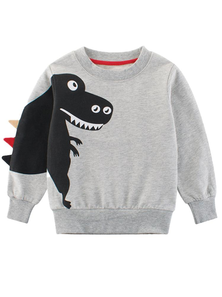 Spikes Out - Smiley T-Rex Dinosaur Boys/ Girls Sweatshirt - Grey and Black - Stylemykid.com