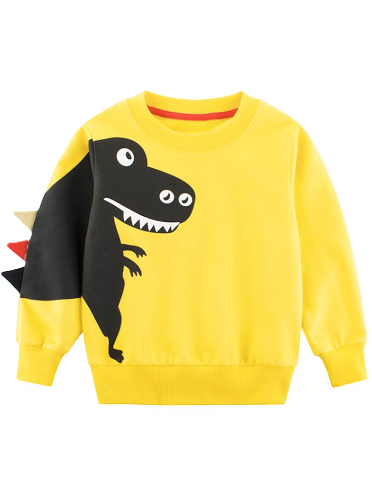 Spikes Out - Smiley T- Rex Dinosaur Boys/ Girls Sweatshirt - Yellow - Stylemykid.com