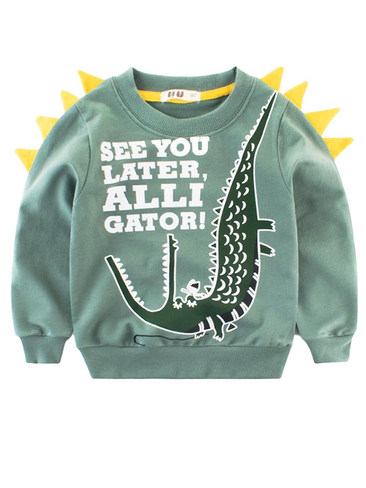 Spikes Out - See You Later Alligator Sweatshirt - Green & Yellow - Stylemykid.com