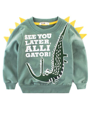 Spikes Out - See You Later Alligator Boys/ Girls Sweatshirt - Green & Yellow - Stylemykid.com