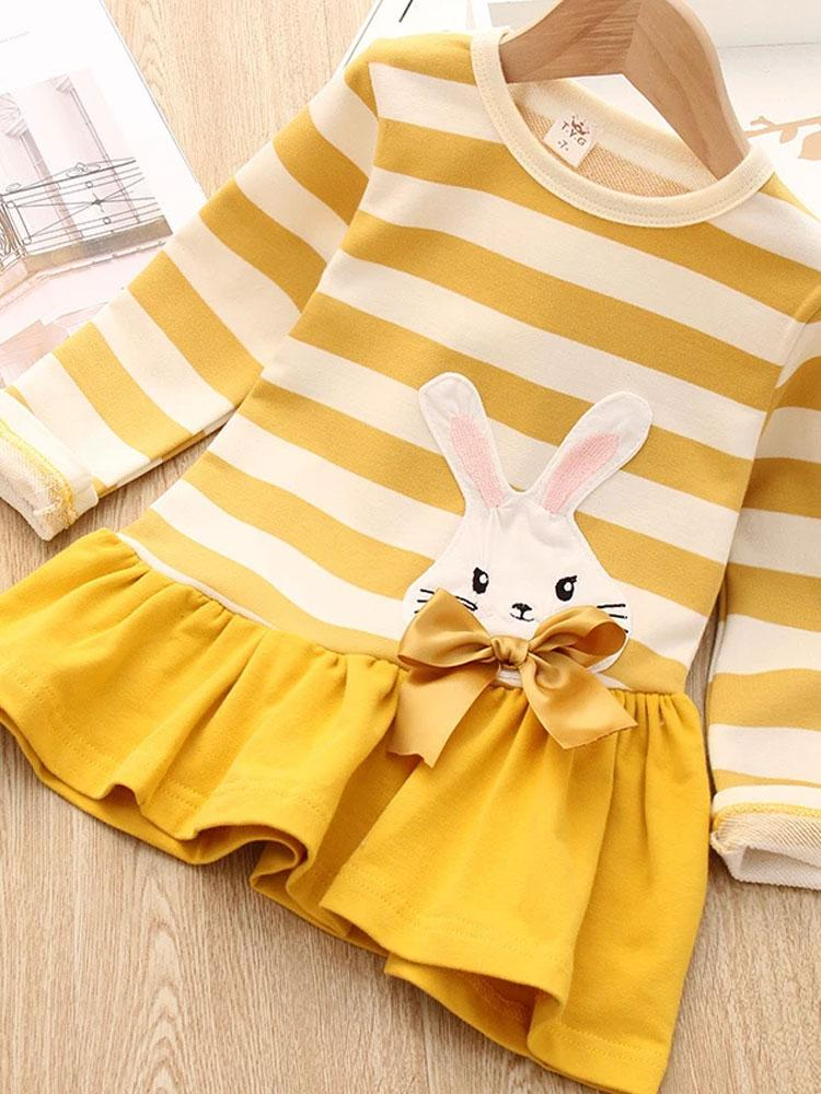 Spring Bunny - Girls Striped Dress with Bunny Design - Stylemykid.com