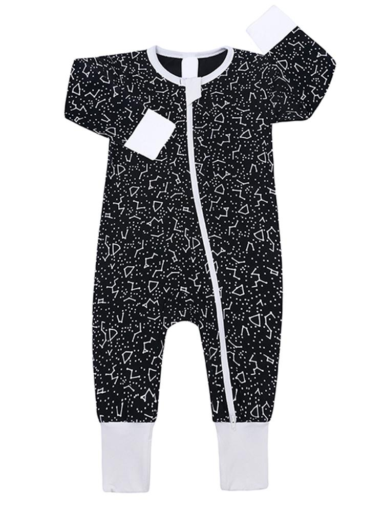Black and White Night Sky Baby Zip Sleepsuit with Hand & Feet Cuffs - NEW DESIGN - Stylemykid.com