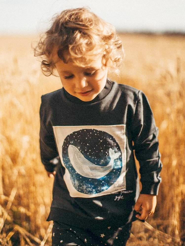 Artie - Starry Starry Night - Dark Blue Whale French Terry Sweatshirt - Stylemykid.com